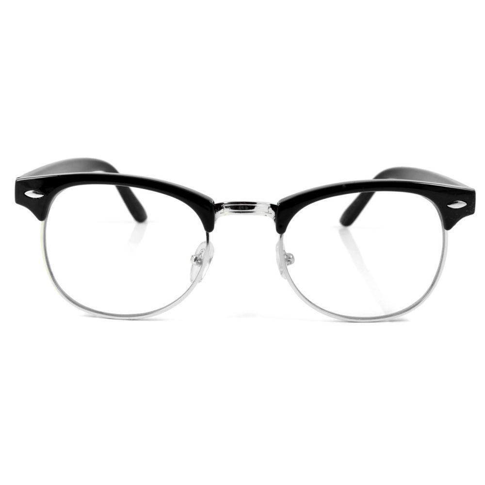 67d8ae9626 Μαύρα   Ασημένια Vintage Γυαλιά Ηλίου με Διάφανους Φακούς