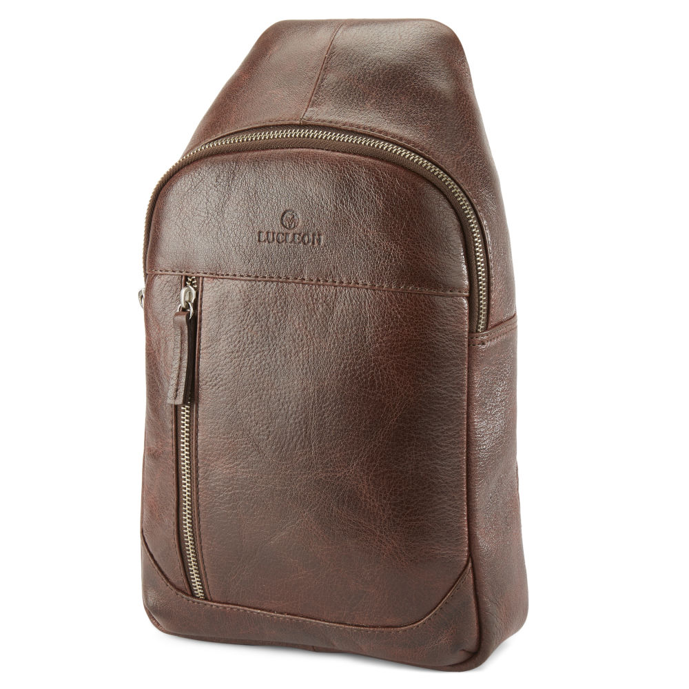 926e4e2665 Καφέ Δερμάτινη Τσάντα Ώμου (Sling Bag) California Mini