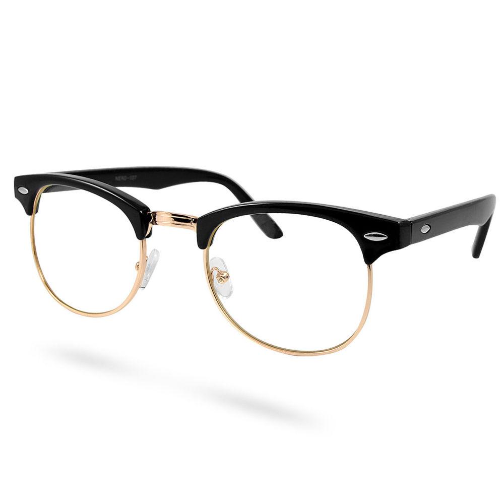 Fekete arany retró szemüveg tiszta lencsével  4c601a5254