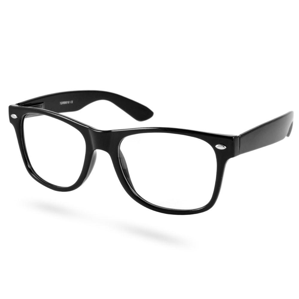 Lunettes rétro noires à verres transparents   En stock!   EverShade 2c22592244fc