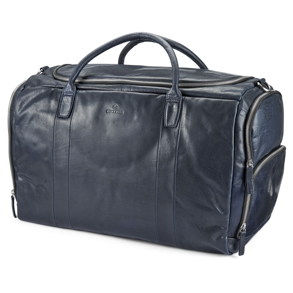 Montreal Large Navy Blue Leather Duffel Bag  5ec8086cbe727