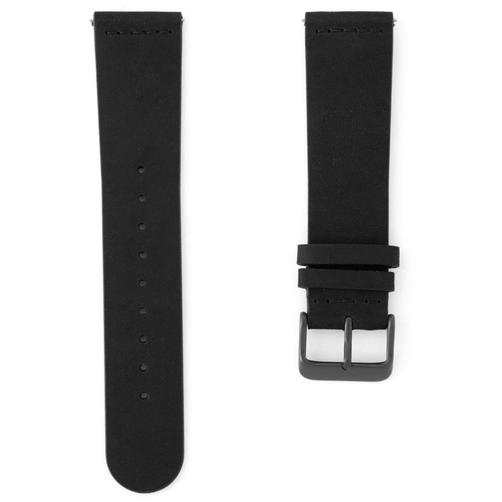 Čierny kožený remienok na hodinky so šedivou prackou  d6a369b6b94