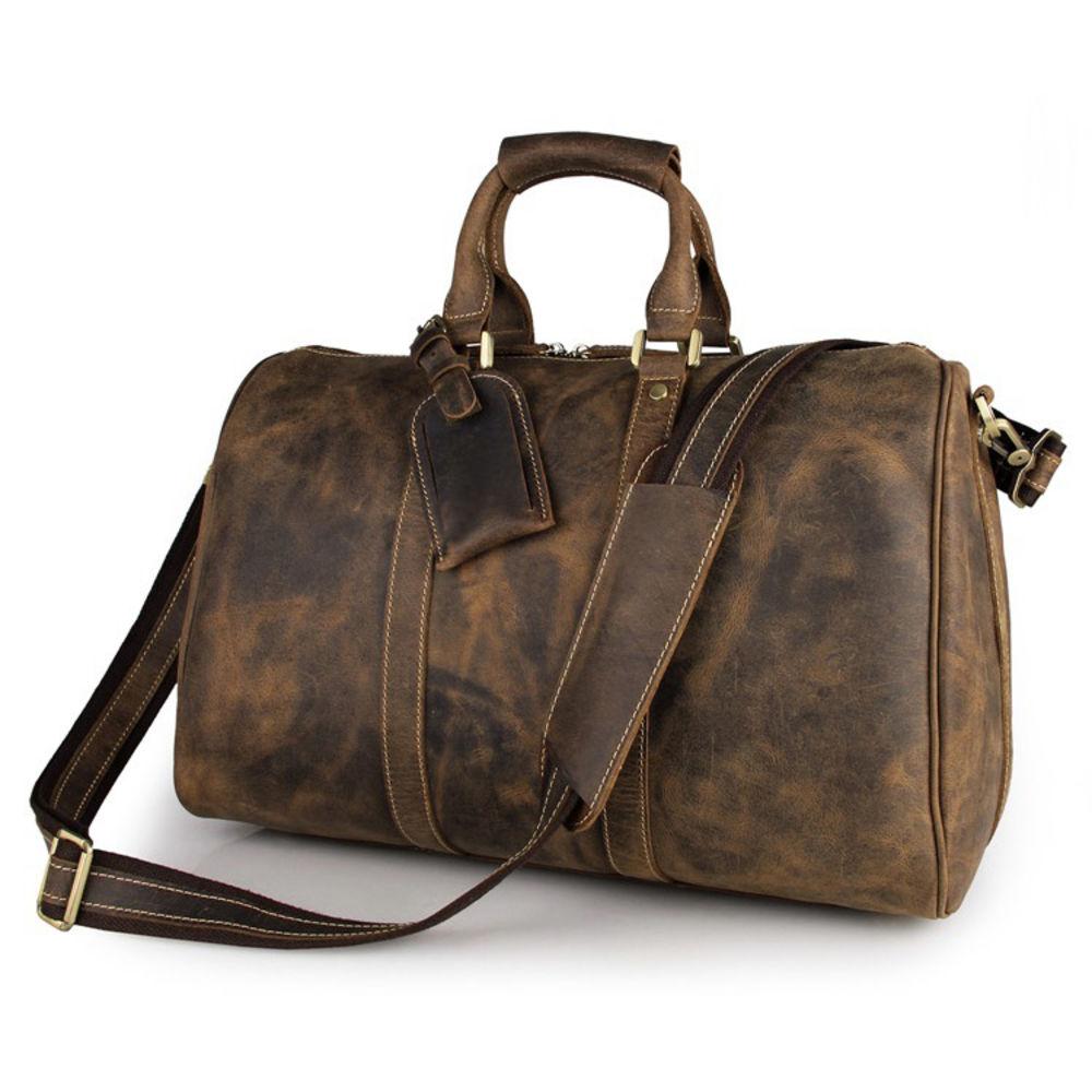 ea3d3540d27 Camel Leather Weekend Bag