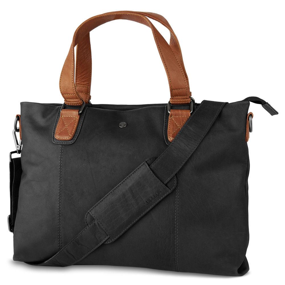 5f040ba198a6 Oxford Classic fekete-nyeregbarna bőr laptoptáska | Ingyenes ...