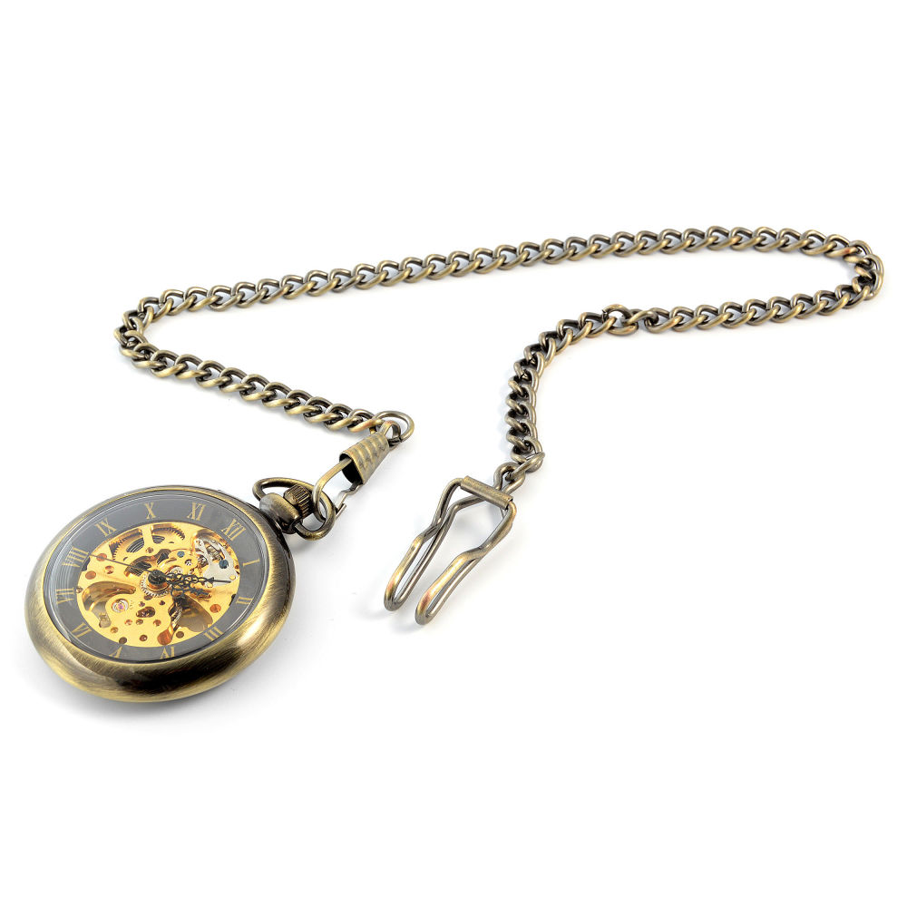 Zlaté mechanické kapesní hodinky Retro d2e1f397d3