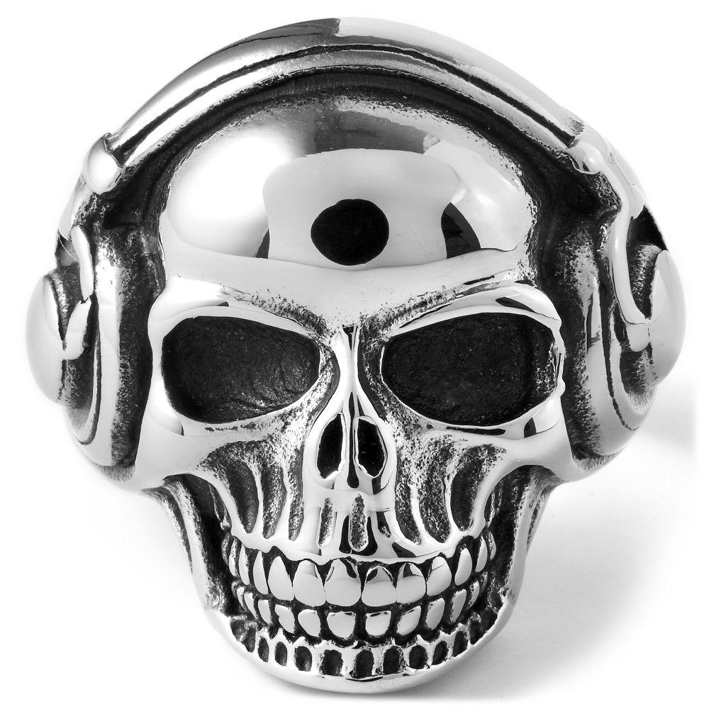 Ατσαλένιο Δαχτυλίδι Musical Skull  45eb789ea3a