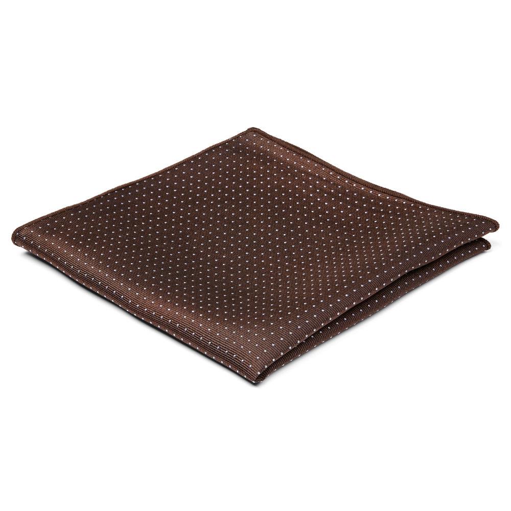 Hnědý hedvábný kapesníček do saka s puntíky  a641656a35