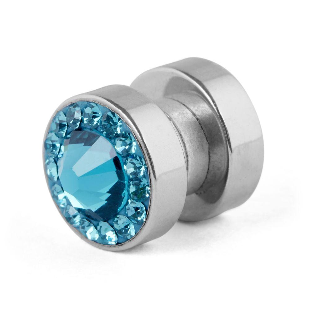 8 mm magnetická náušnica s modrým kryštálom  239af004103