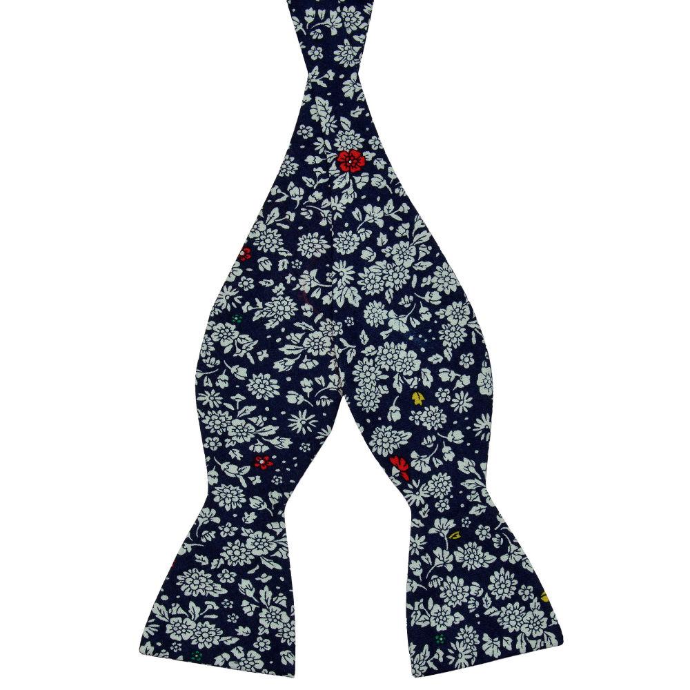 77bfaee900a Blue Floral Design Cotton Self Tie Bow Tie