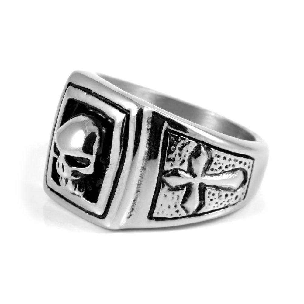 Ατσαλένιο Δαχτυλίδι Skull   Crosses  ef2e5872567