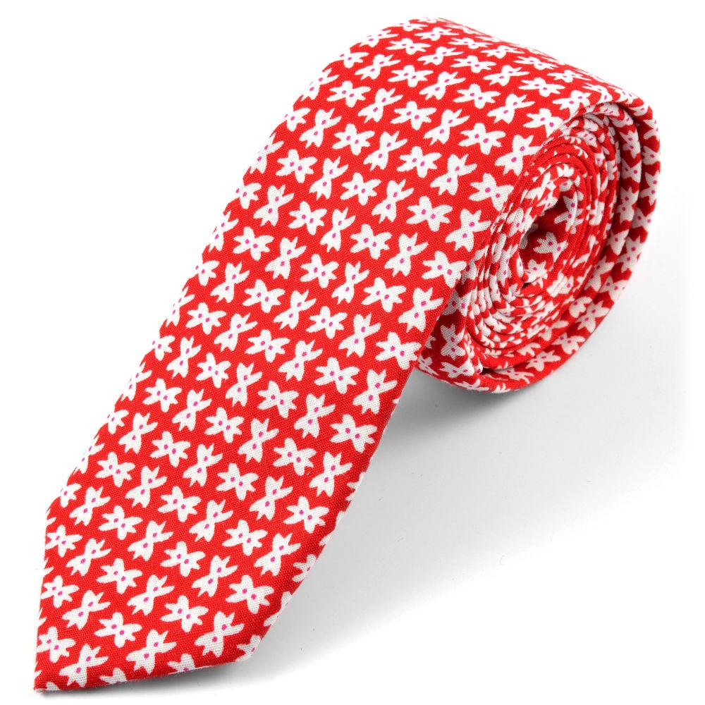 4ed138a1ac Piros, csokornyakkendő-mintás pamut nyakkendő | Készleten! | Tailor Toki