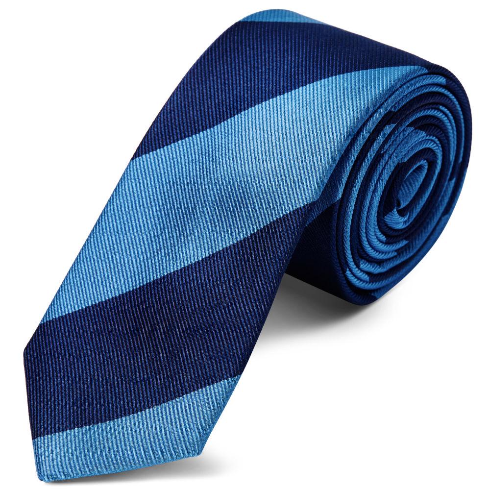 66ddf23750 Γραβάτα Μεταξωτή Ριγέ Blue   Navy 6εκ