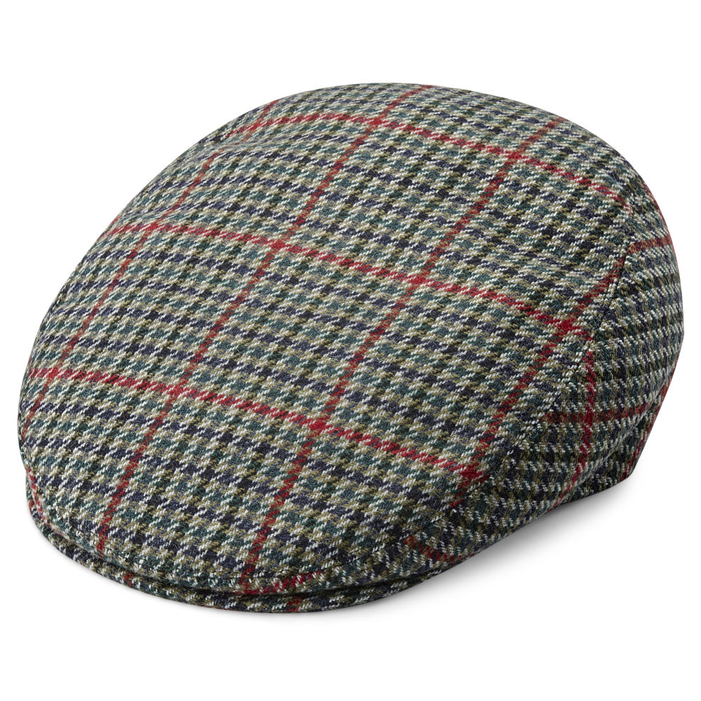 Boston Houndstooth Green Fido Flat Cap  9c8ddb3fd43