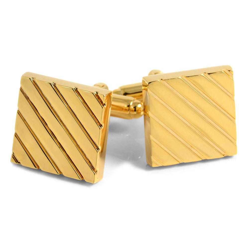 81e91fadc36f Zlaté manžetové gombíky s prúžkami