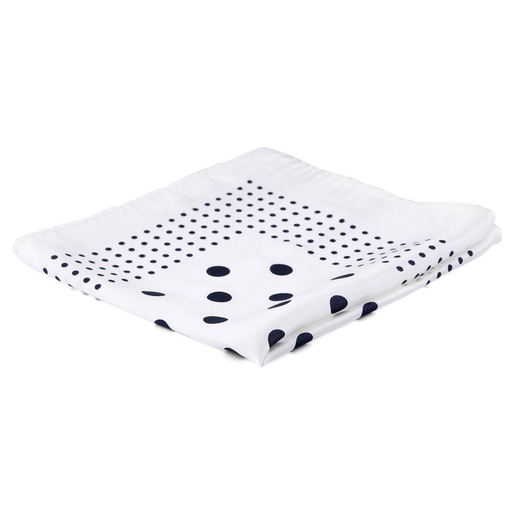 Λευκό Πουά Μεταξωτό Τετράγωνο Μαντήλι Τσέπης  97cb0dd357e