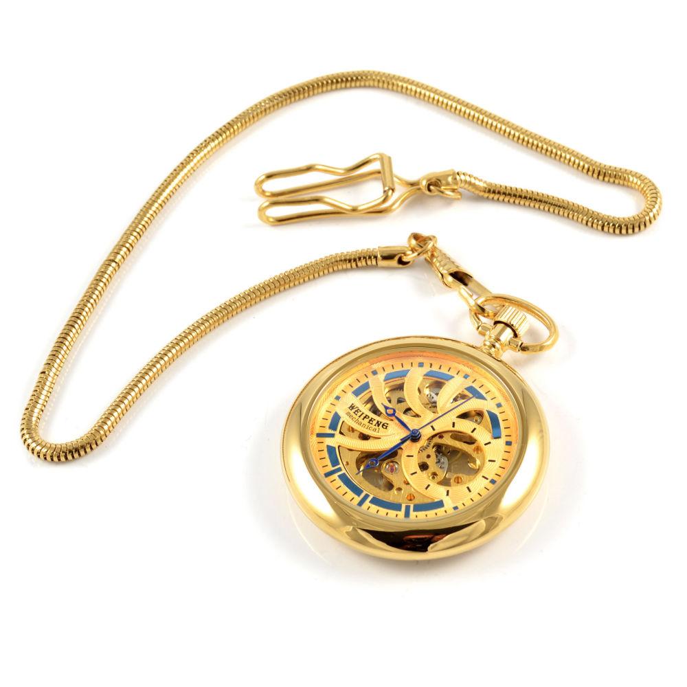 44d57b02c2c Zlatě zbarvené aztécké mechanické kapesní hodinky