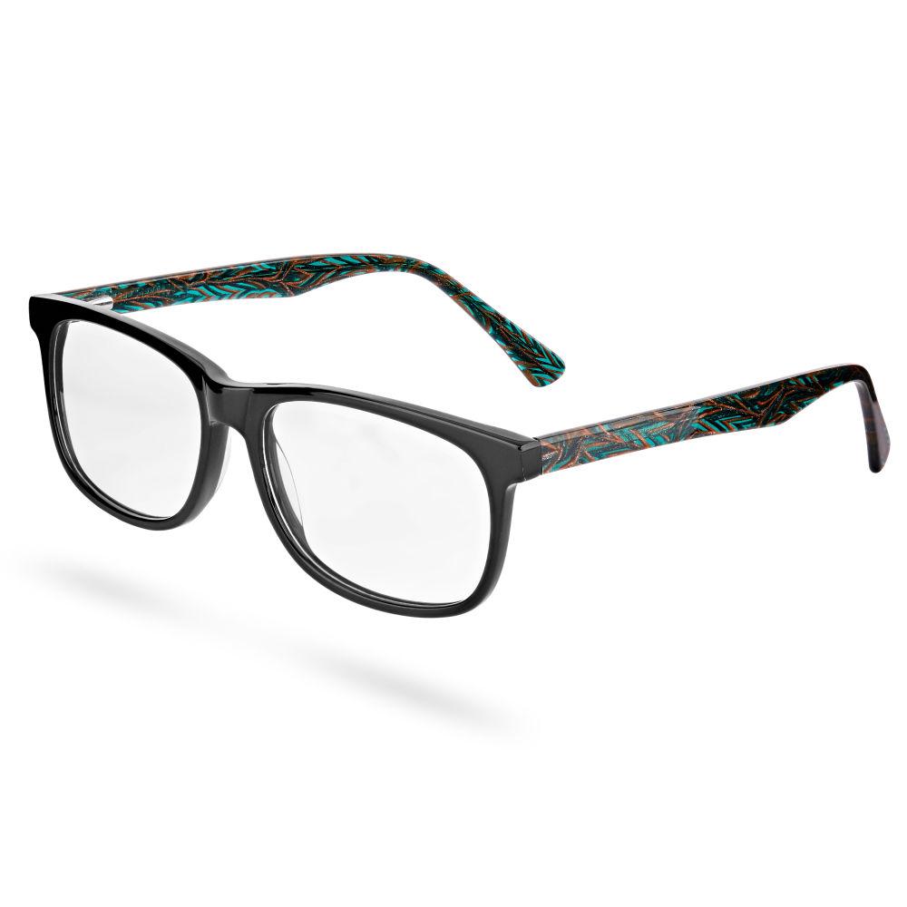 Μαύρα Γυαλιά με Μοτίβο   Διάφανους Φακούς  1a90e8a109f
