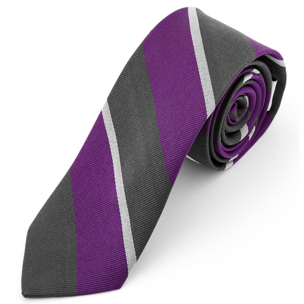 f0d1998e8e Szürke-lila-fehér csíkos selyem nyakkendő | Ingyenes kiszállítás ...