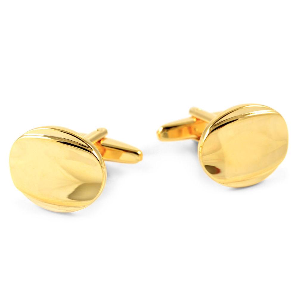 c5729cada302 Lesklé zlaté manžetové gombíky Oval