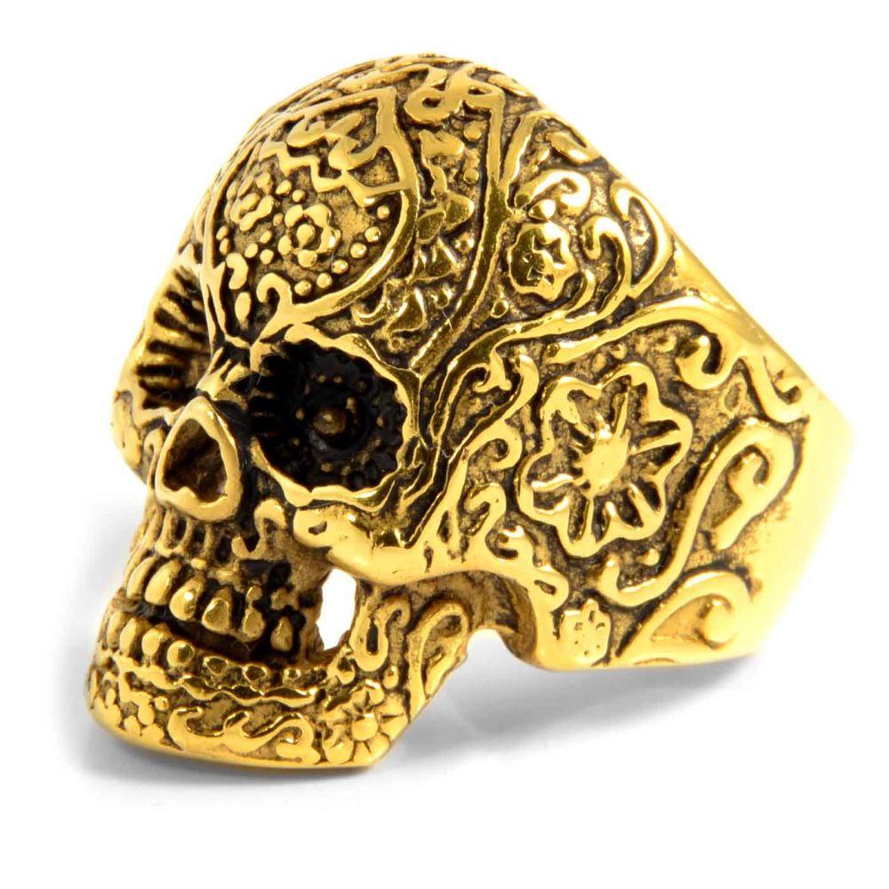 Ατσαλένιο Δαχτυλίδι Golden Skeleton Skull  9da91cf94d0