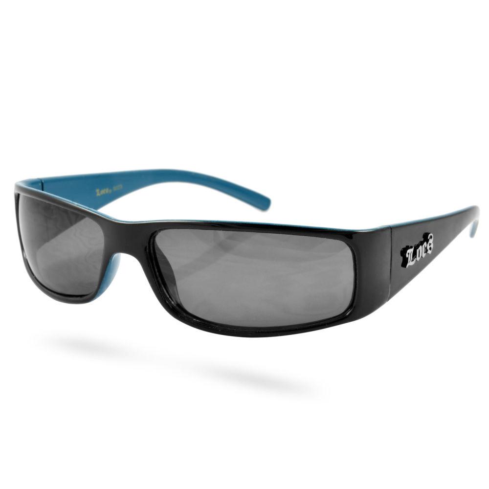 Schmale schwarze Sonnenbrille, innen blau | Kostenloser Versand | Locs