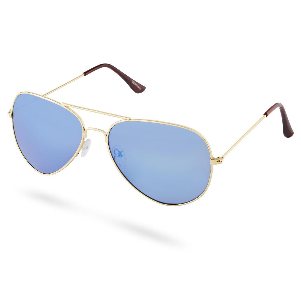 3c46f019392a Guldtonet og Blå Aviator Solbrille