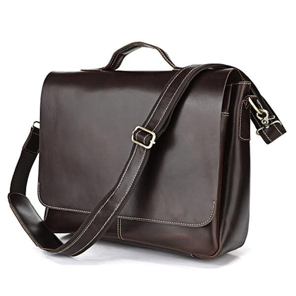 Braune Ledertasche Mit Denim Detail   Kostenloser Versand   Delton Bags