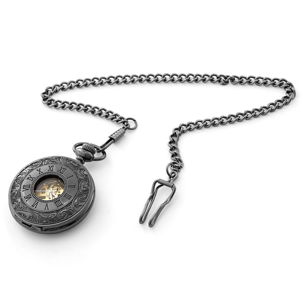 49ea5a38cc1 Černé zdobené kapesní hodinky