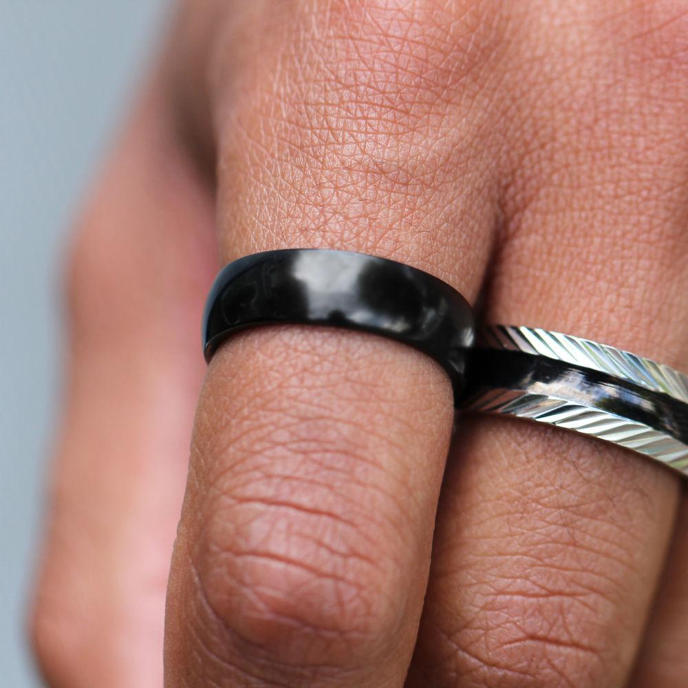 Black Glossy Steel Ring   Trendhim   Free shipping