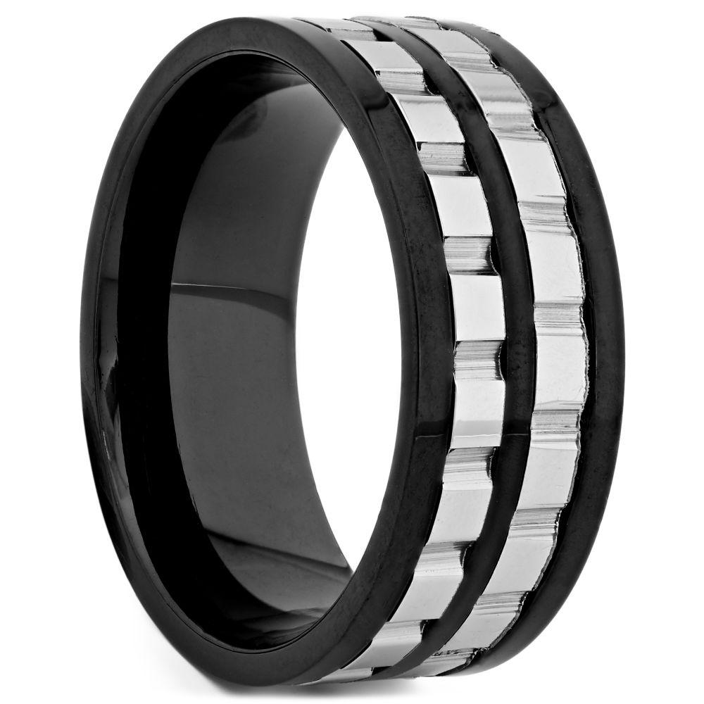 e171399a28bdb Anillo de acero negro con rueda de cadena