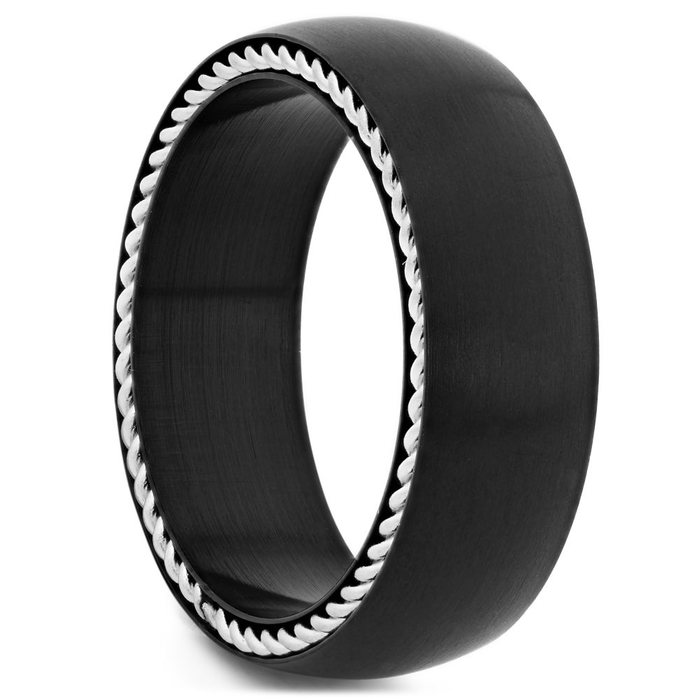 41b38c87c9e7f Anillo de acero negro con cadena incrustada
