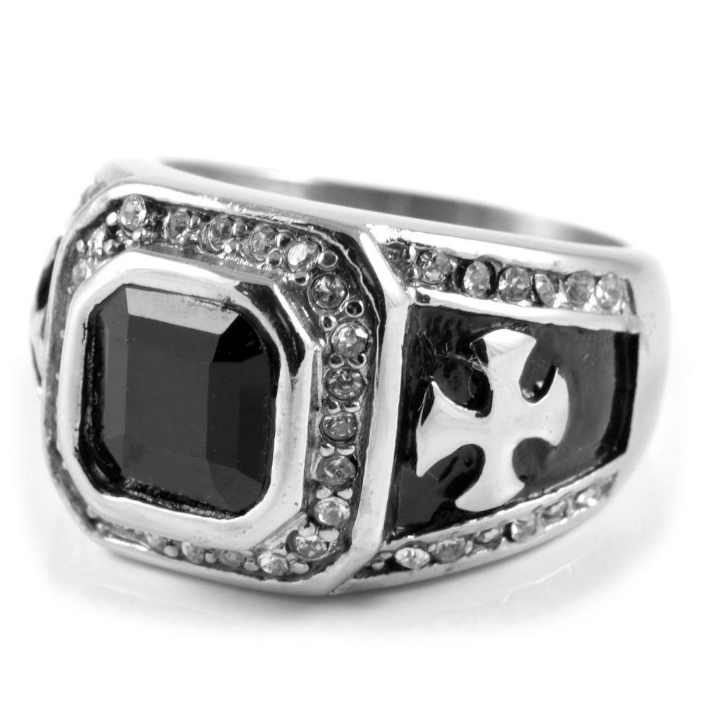 Ατσάλινο Δαχτυλίδι με Ζιρκονία και Σταυρό Majestic  ea553834fe2