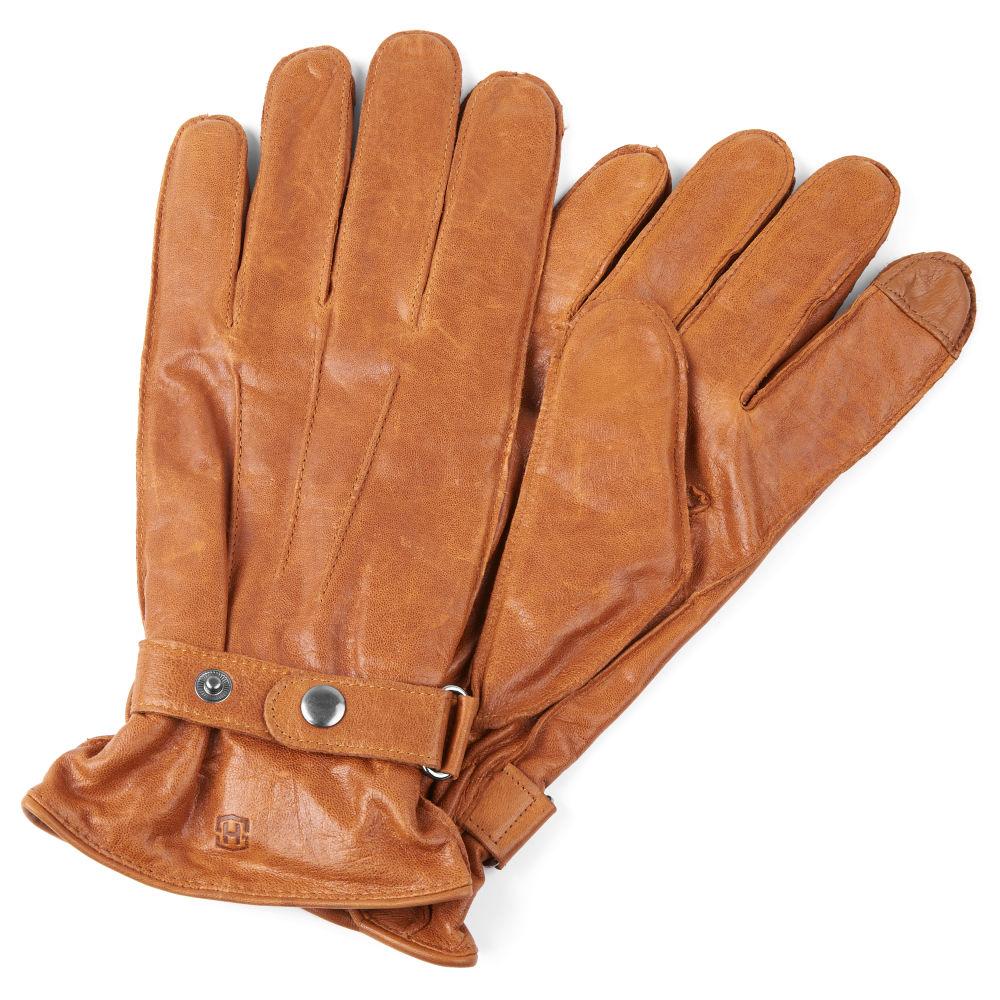 7afd1375d90f9 Jasnobrązowe skórzane zapinane rękawiczki