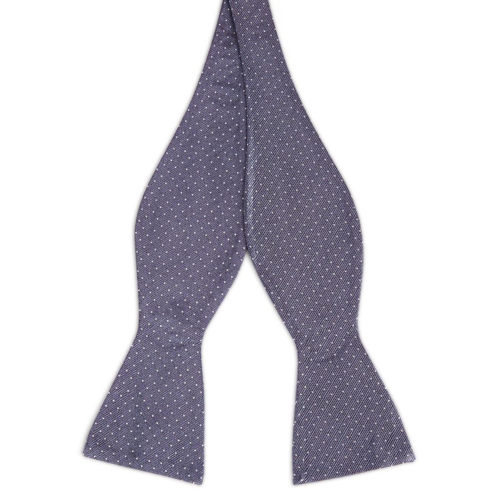 5de65a8da29 Grey Polka Dot Silk Self Tie Bow Tie
