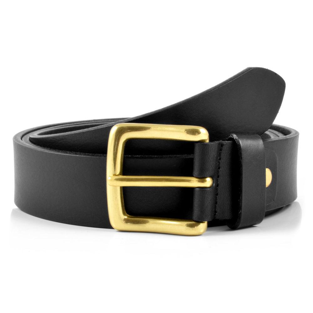 2e13b042100 Cinturón de cuero negro con hebilla dorada