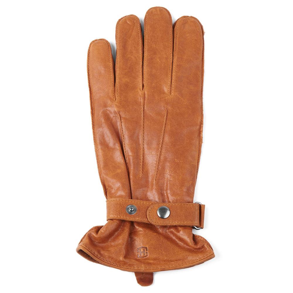 f34781fde6b Světle hnědé kožené rukavice s páskem