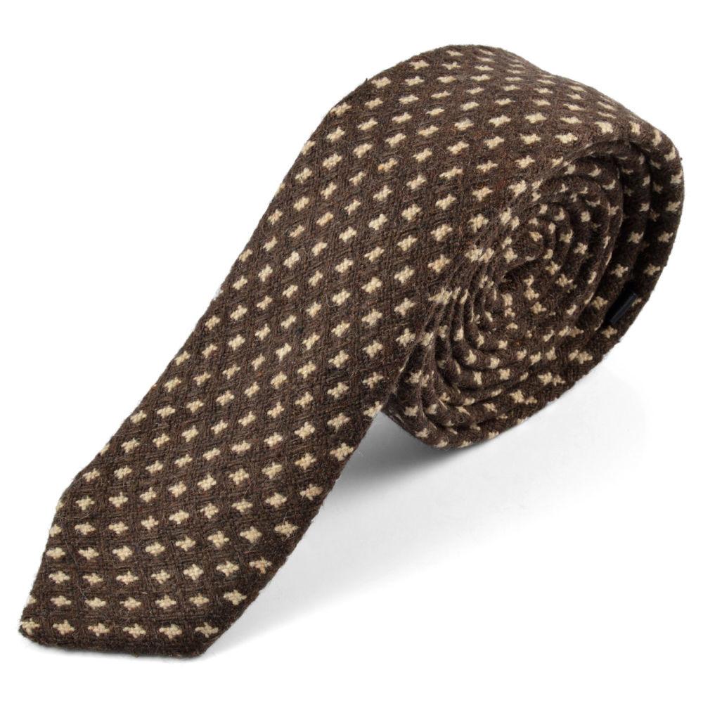 Corbata de lana de cachemira con diseño marrón  4344b965225