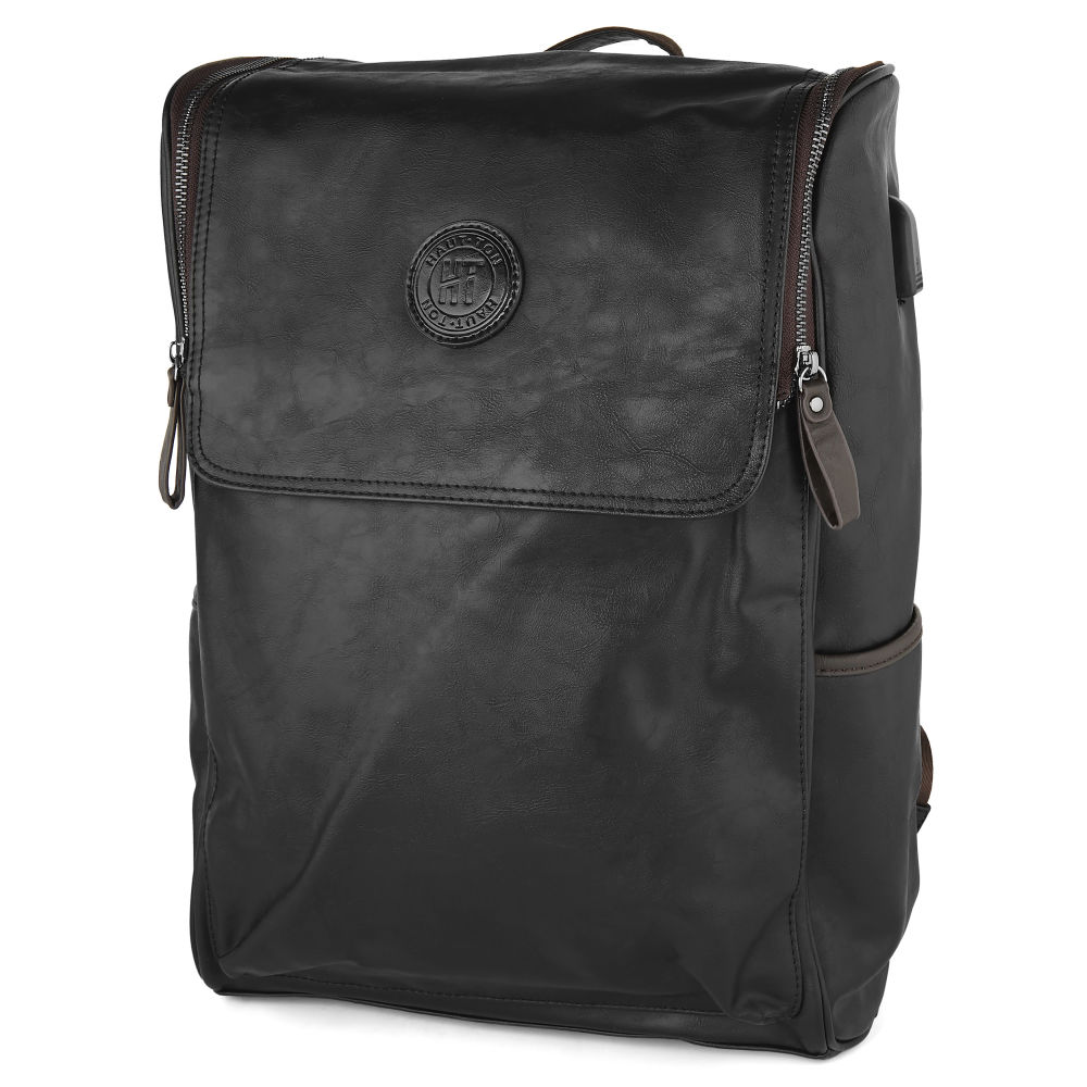94a09a4f35 Μαύρο Σακίδιο Πλάτης Faux-Leather Backpack