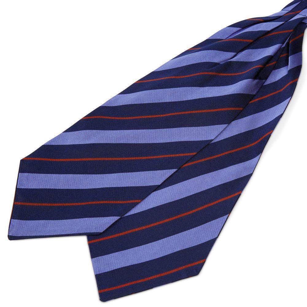 Pastel Blue & Red Stripe Navy Silk Cravat Trendhim