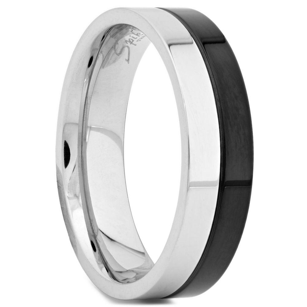 Μαύρο   Ασημί Ατσάλινο Δαχτυλίδι  e23bd385df2