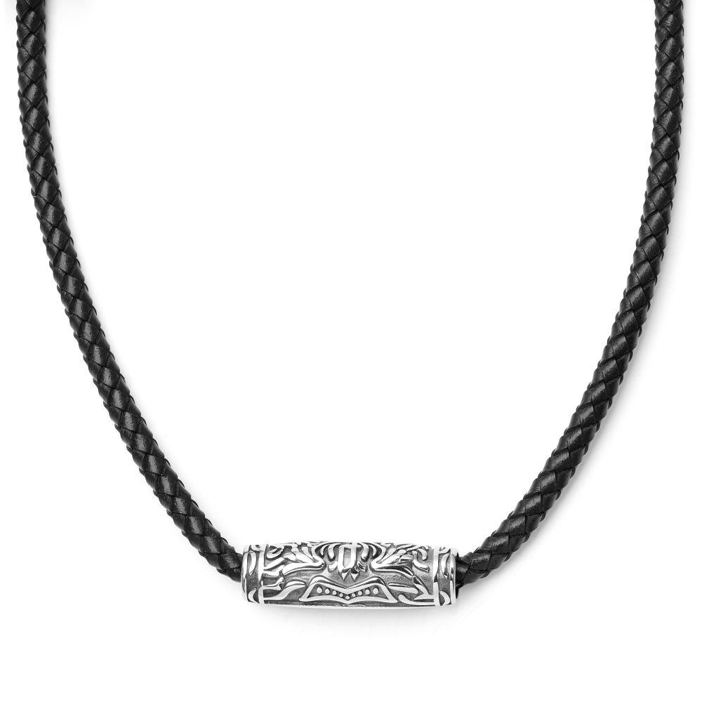 Čierny kožený náhrdelník s príveskom v tvare valca s magickým motívom 21a38200971