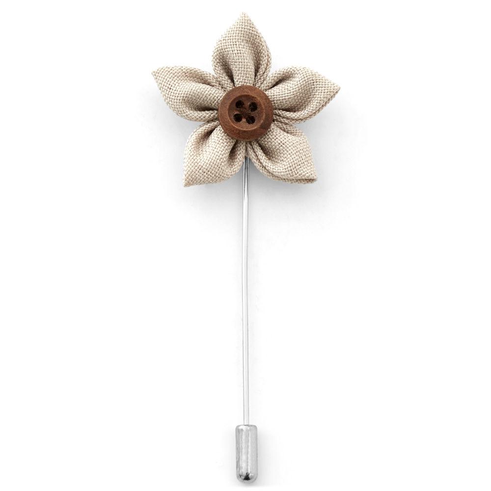 Καρφίτσα Πέτου Buttoned Cream Flower  4a9b6ebea20