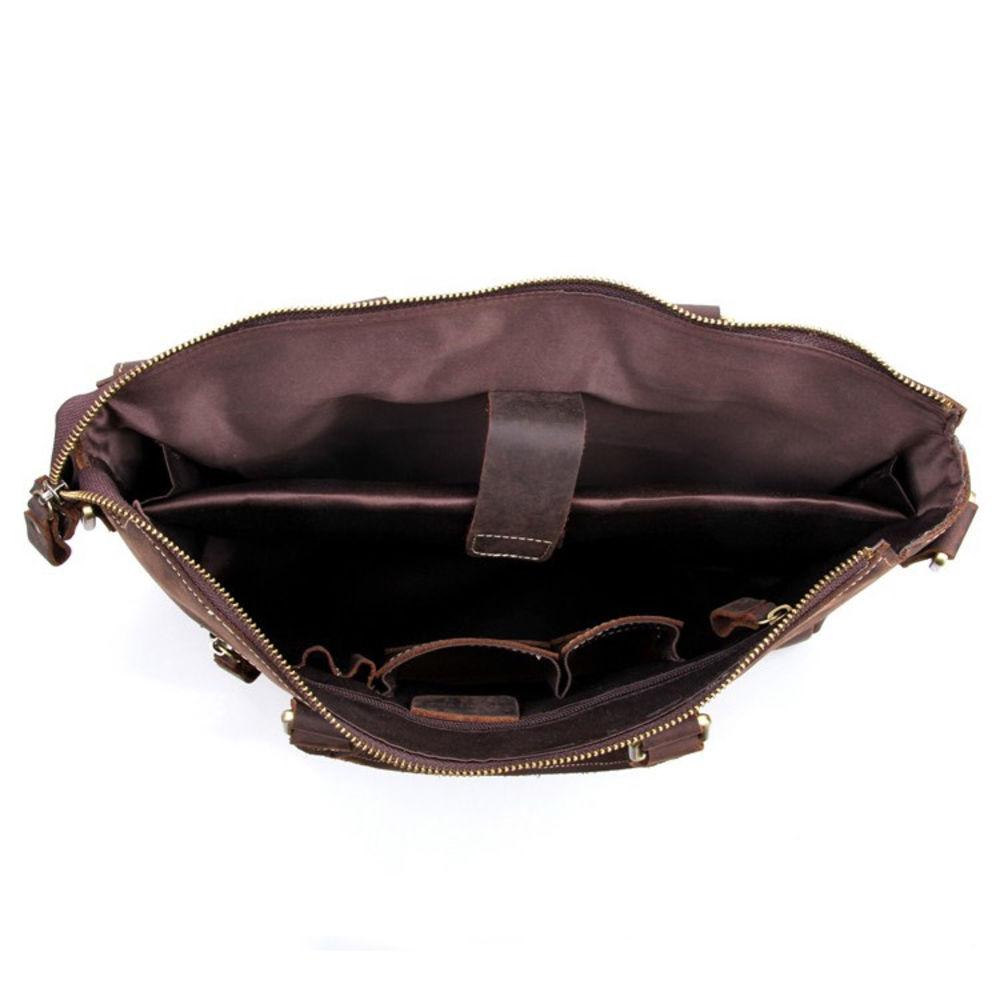 3ad6db018d Tmavě hnědá klasická kožená taška Vintage