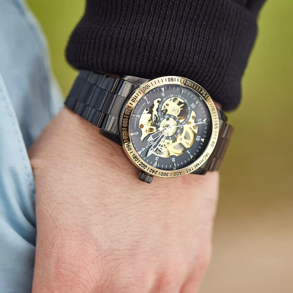 Μαύρο και Χρυσαφί Ρολόι Χειρός Rolat Edged   Πολυτελής Κόκκινη Ξύλινη Θήκη  Φύλαξης Ρολογιών - 6 ρολόγια   Βραχιόλι Impeccable  4f3dcfd96df