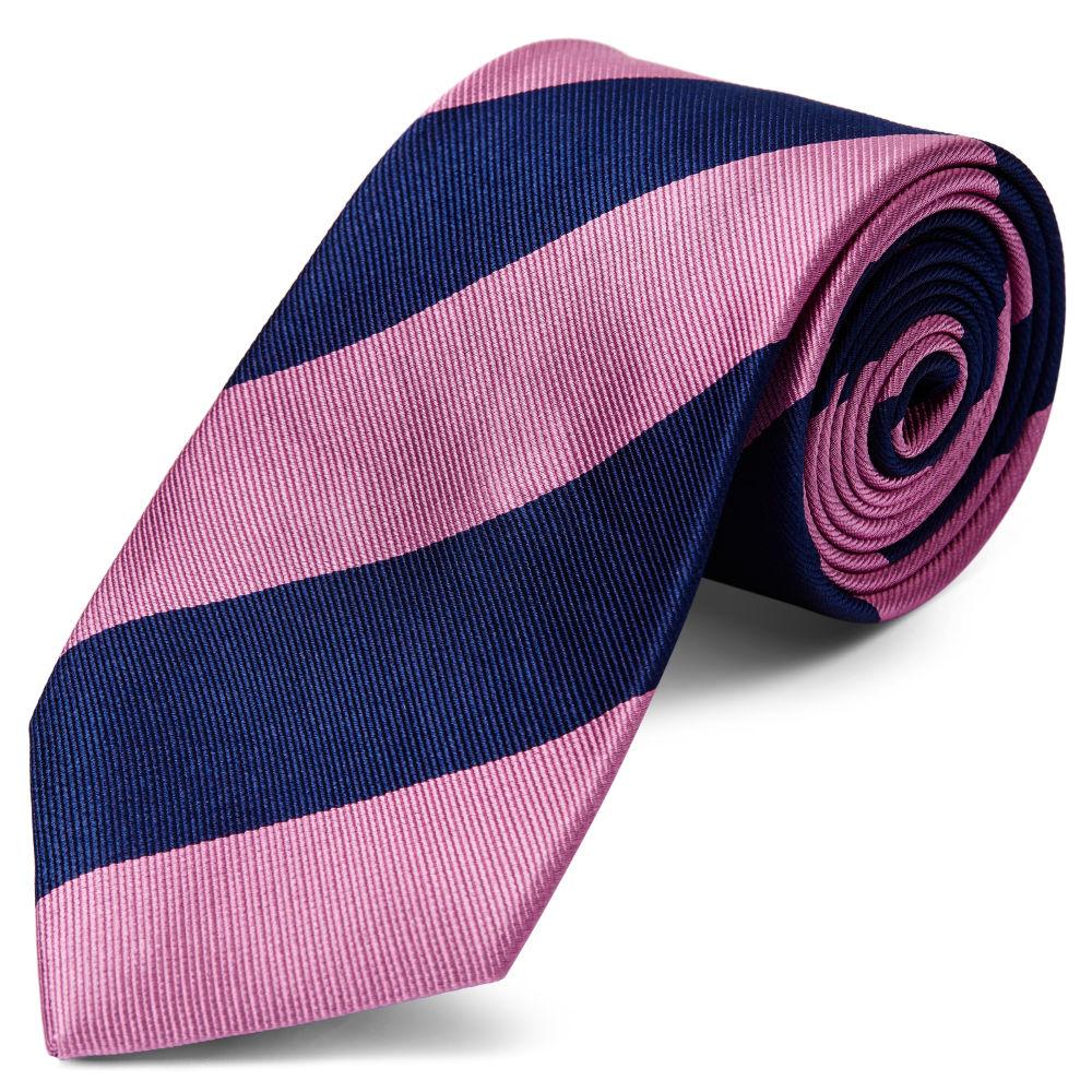 afb05042bf16f Cravate en soie à rayures rose et bleu marine - 8 cm | Port gratuit ...