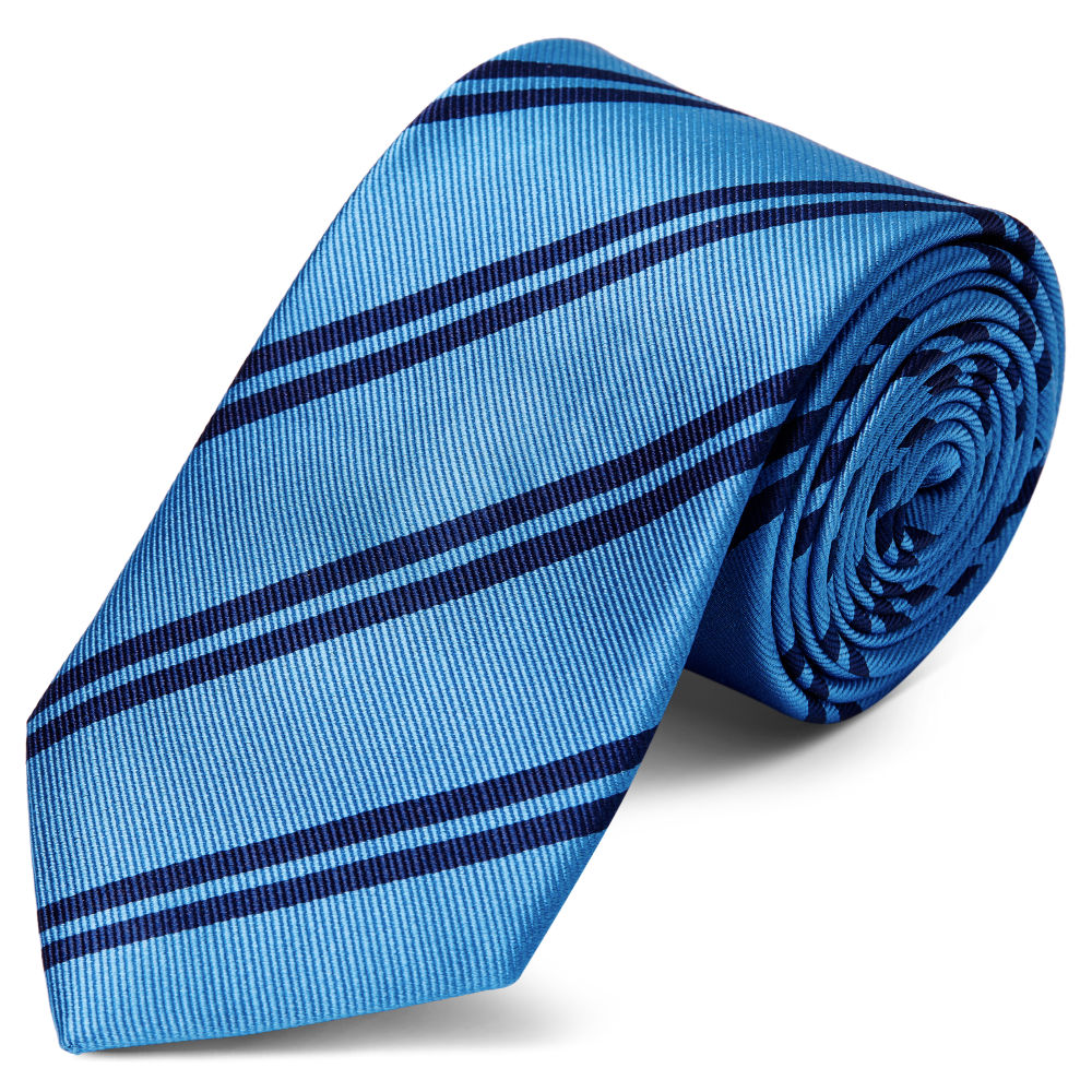 9753470e4ac91 Cravate en soie bleu métallique à rayures bleu marine - 8 cm | Port ...