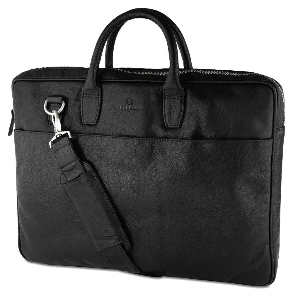 b68b87e595 Μαύρη Δερμάτινη Τσάντα Laptop με Διπλό Φερμουάρ Montreal Executive ...