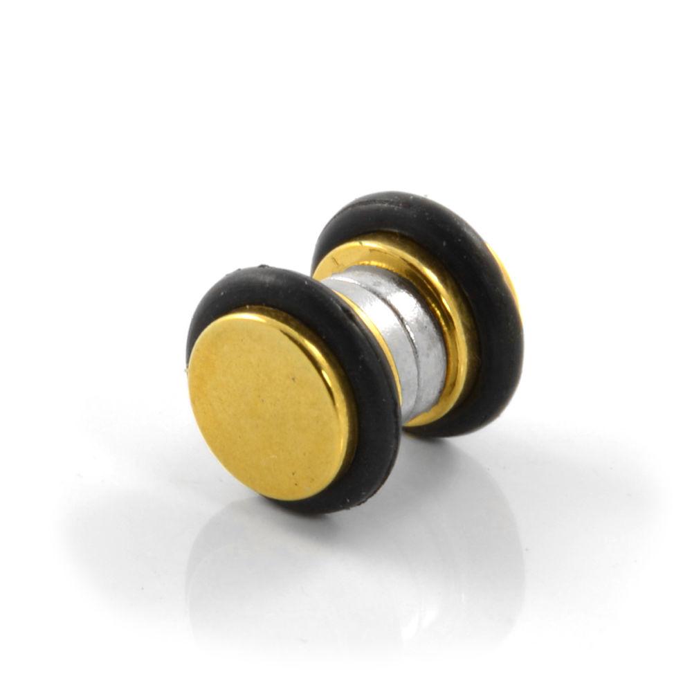 6mm Ocelová zlatá magnetická náušnice s gumovým okrajem  e39da0db88b