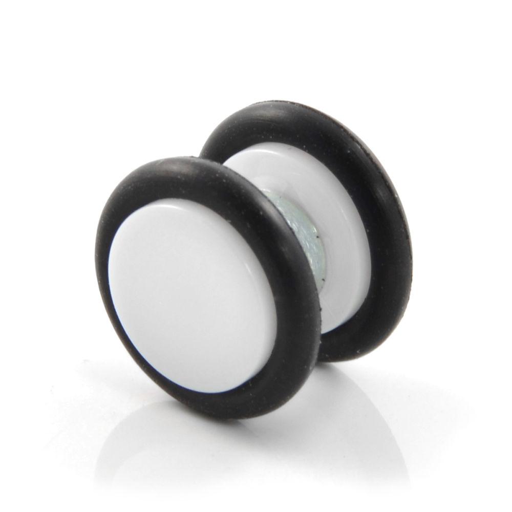 Bílá magnetická náušnice White   Rubber 8 mm  4a1e49e83f2