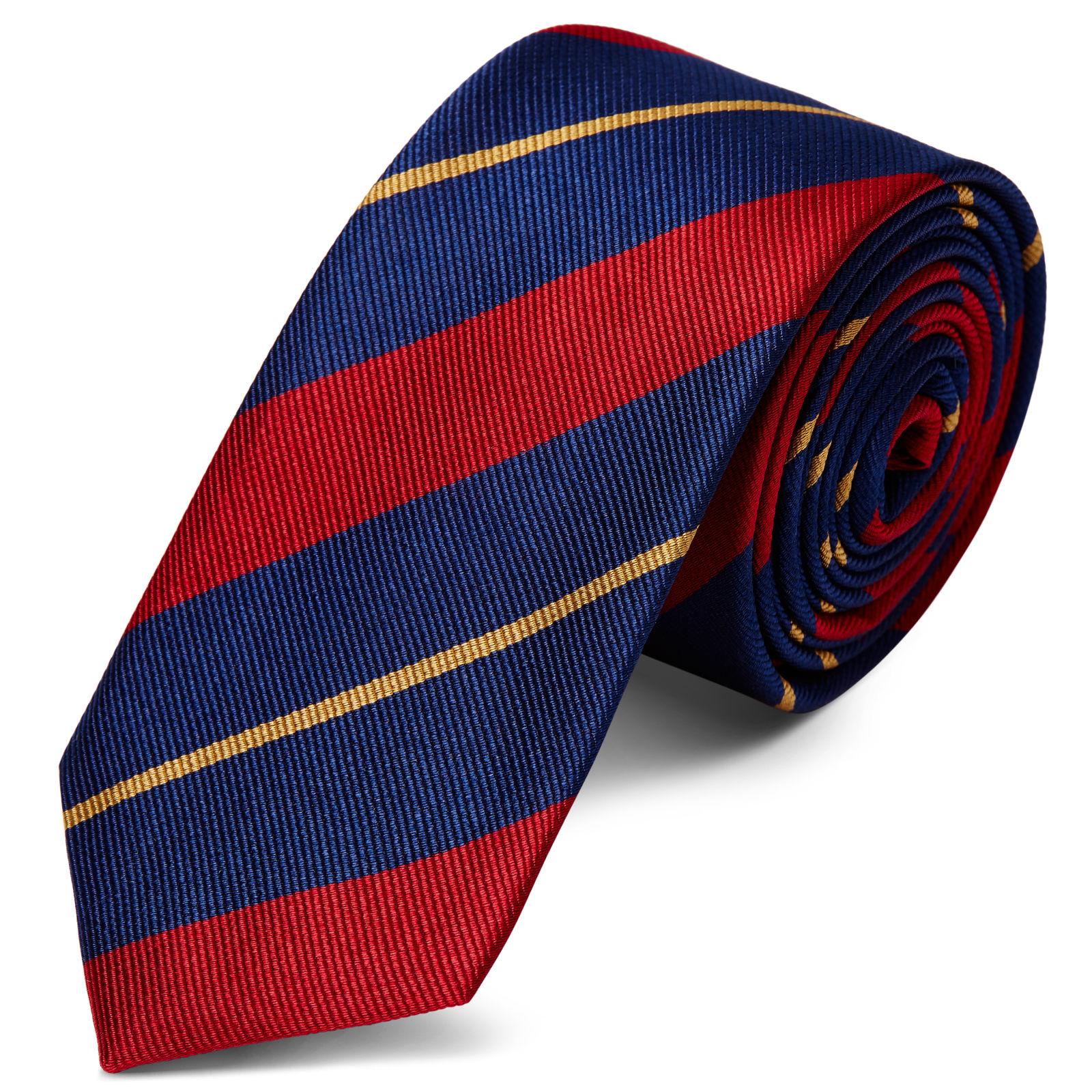 d8c2c55f3a Cravate en soie à rayures bleu marine, rouge et or - 6 cm | Port gratuit |  TND Basics